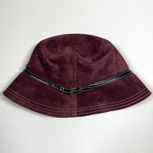 Coach Women's Suede Leather Bucket Hat Plum Purple